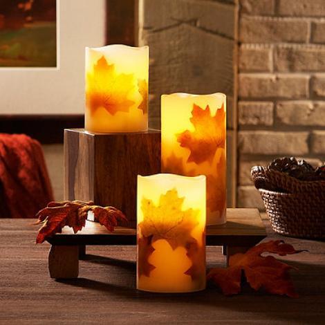 Loft Living Juego de velas de 3 piezas sin llama LED Harvest Pillar Loft Living 3-Piece Flameless LED Harvest Pillar Candle Set
